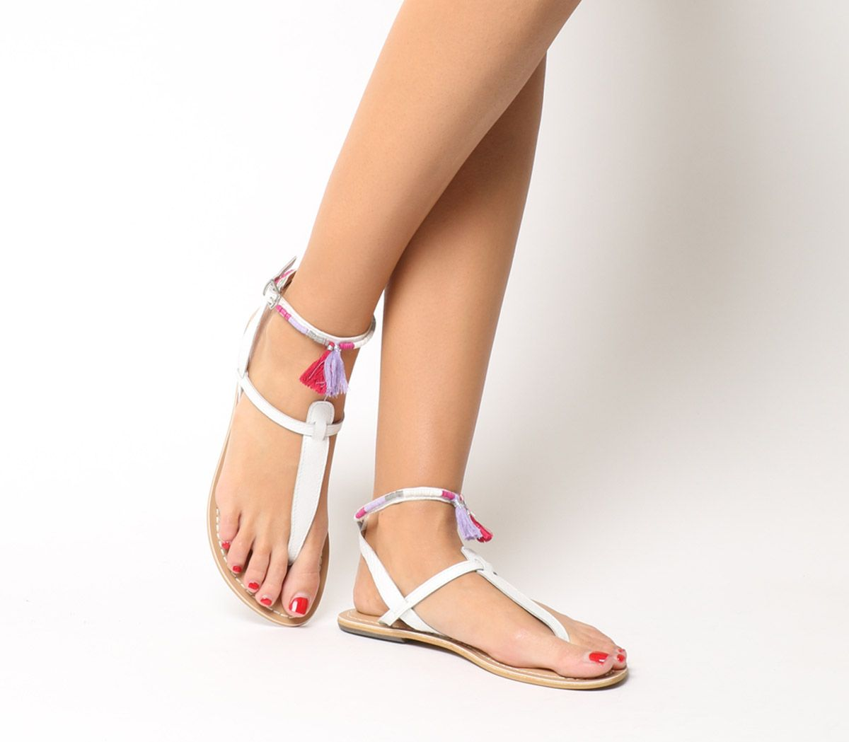 91053e53e21a Office Salsa Tassel Ankle Strap Toe Post Sandals White Leather Pink ...