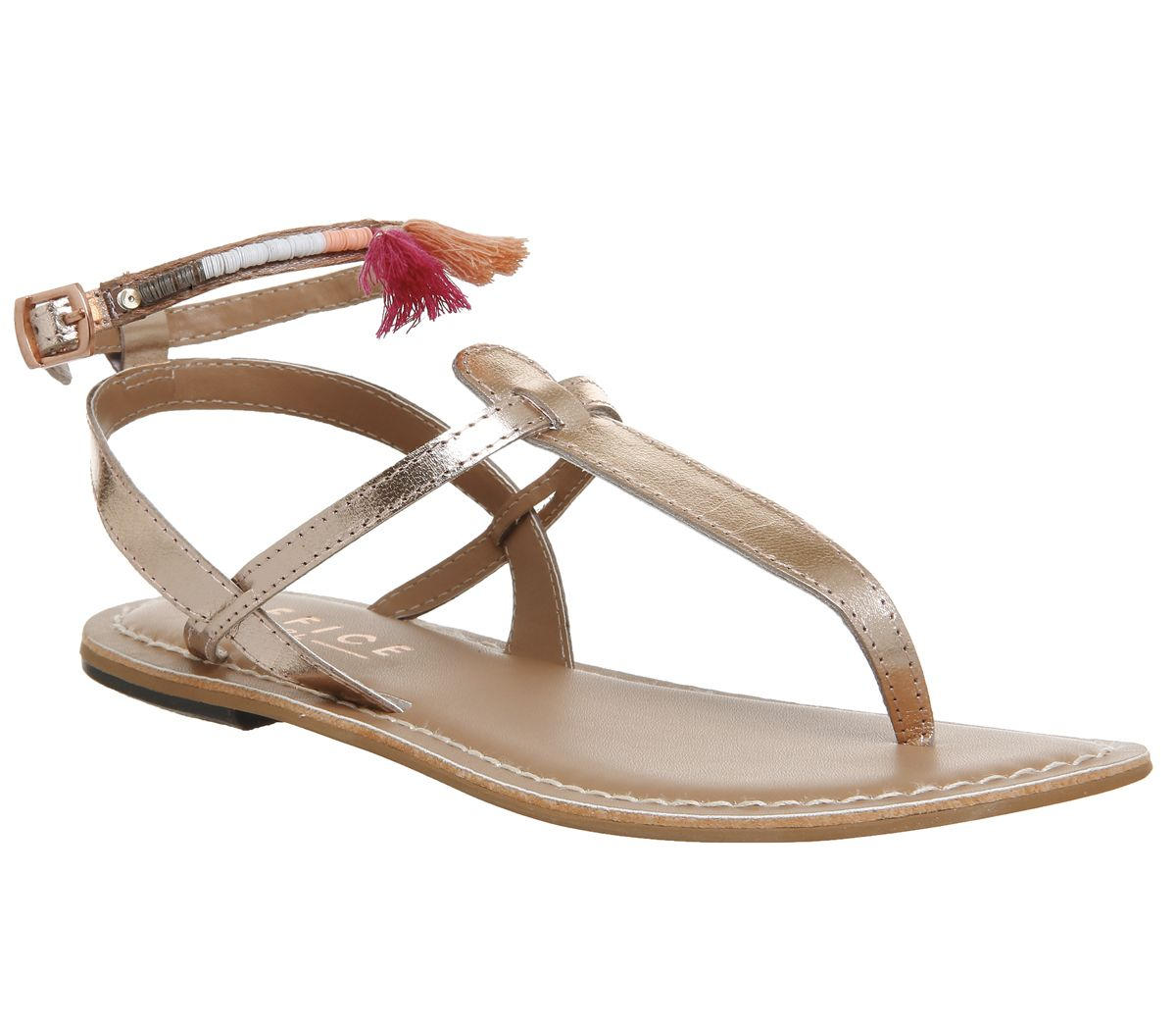 0fc0f8bc132a Office Salsa Tassel Ankle Strap Toe Post Sandals Rose Gold Leather ...