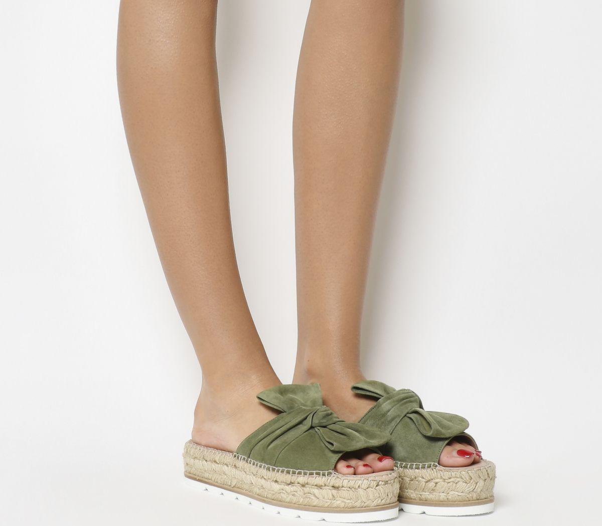 ab7bd1010adc Gaimo for OFFICE Samanta Bow Flatform Sandals Khaki Suede - Mid Heels
