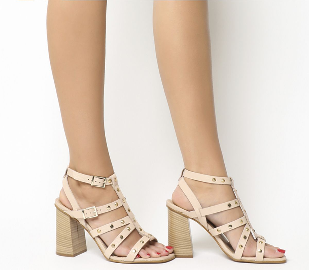 d89ad1c96ca Office Herring Studded Strappy Block Heels Nude Leather - High Heels