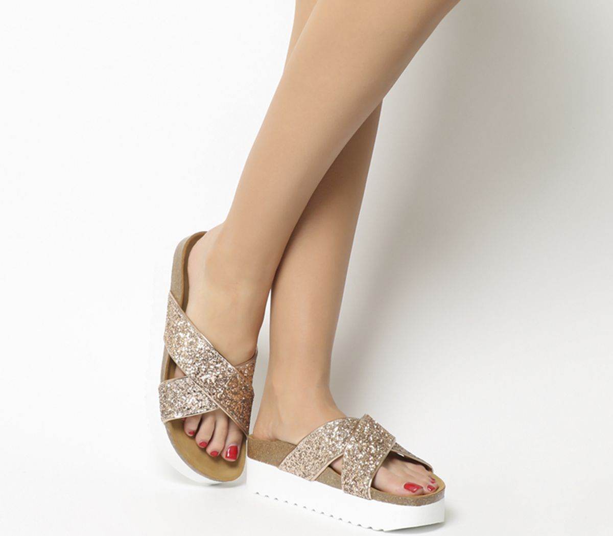 aebdc0dc397b Office Warner Double Strap Footbed Sandals Rose Gold Glitter - Mid Heels