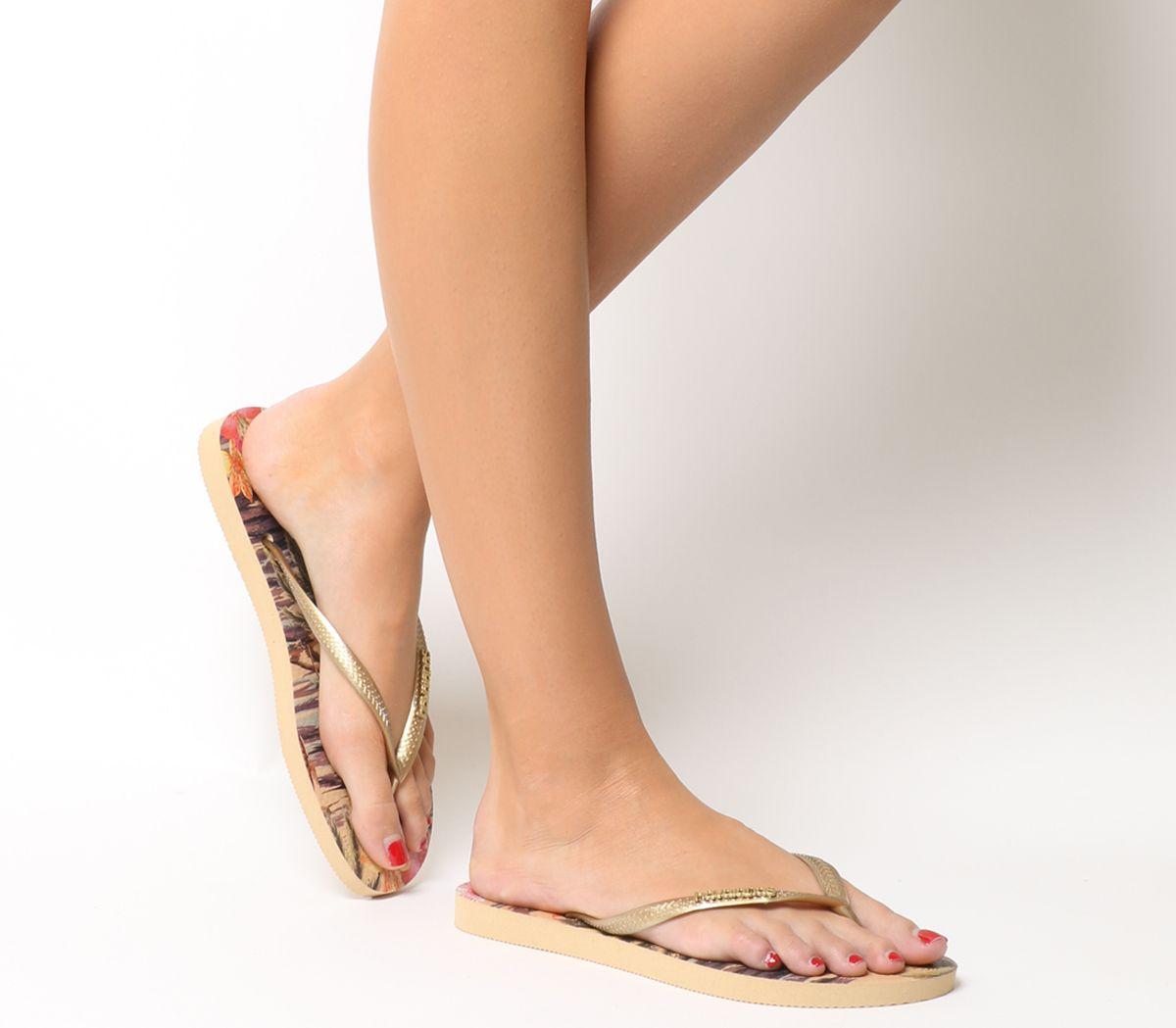bcff2ed54 Havaianas Slim Tropical Flip Flops Ivory - Sandals