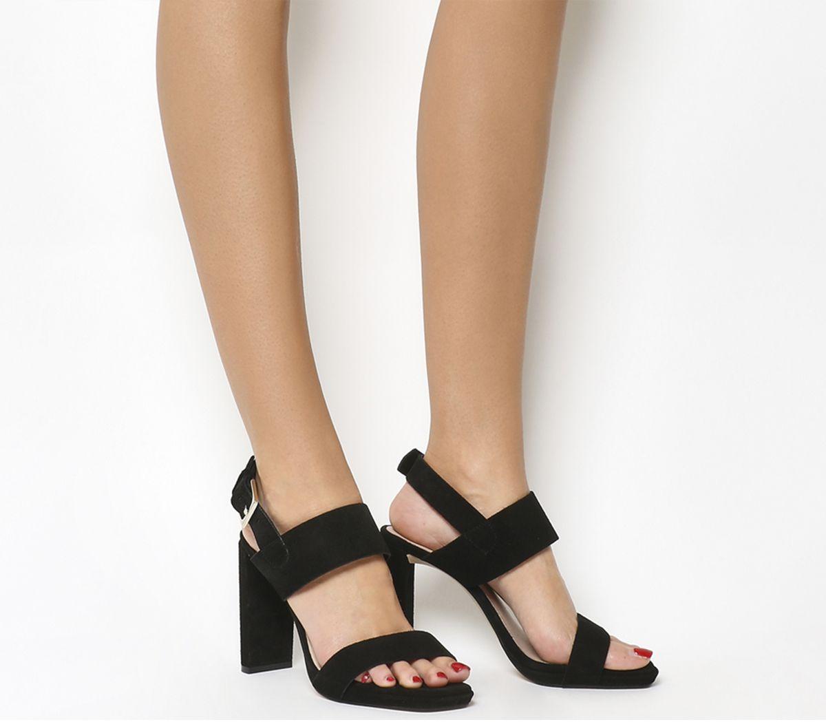 b64491738a6 Office Howl Slingback Slim Block Heels Black Suede - High Heels