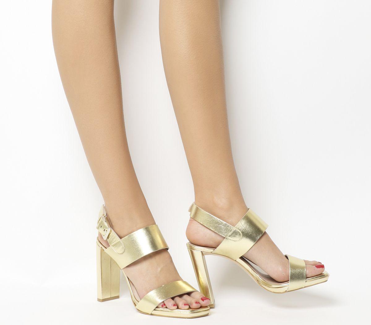 50febc42cae Office Howl Slingback Slim Block Heels Gold Leather - High Heels