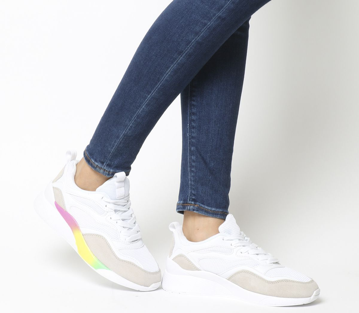 94ee6ce4006d4 Office Fife Chunky Lace Up Trainers White With Rainbow Sole - Flats