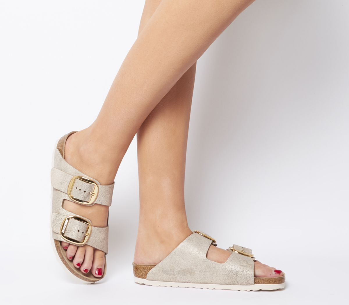 8f4e33a5e939 Birkenstock Arizona Big Buckle Sandals Washed Metallic Rose Gold ...