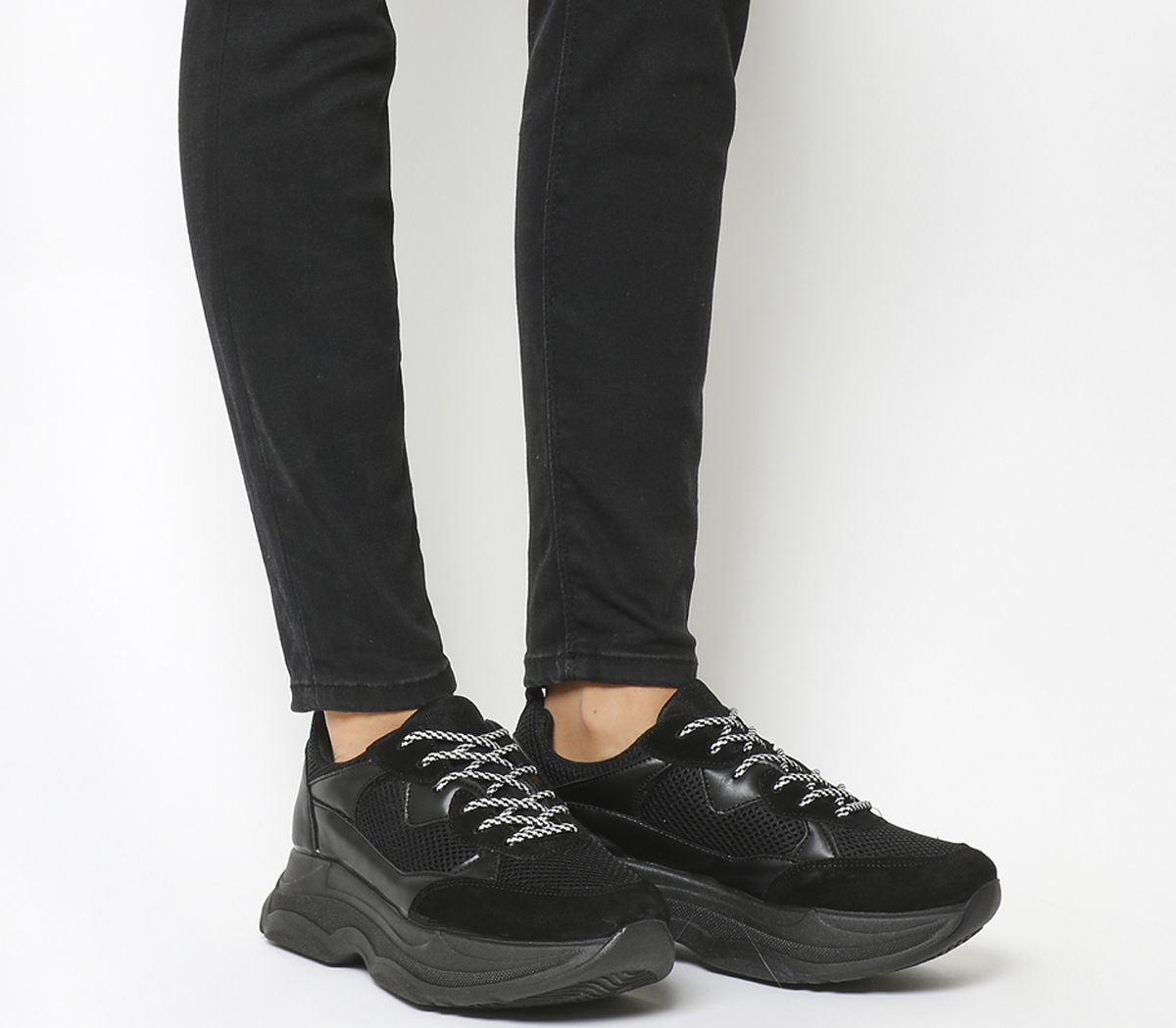 f7d371c10b481 Office Fizzled Chunky Lace Up Trainers Black Material Mix - Hers ...