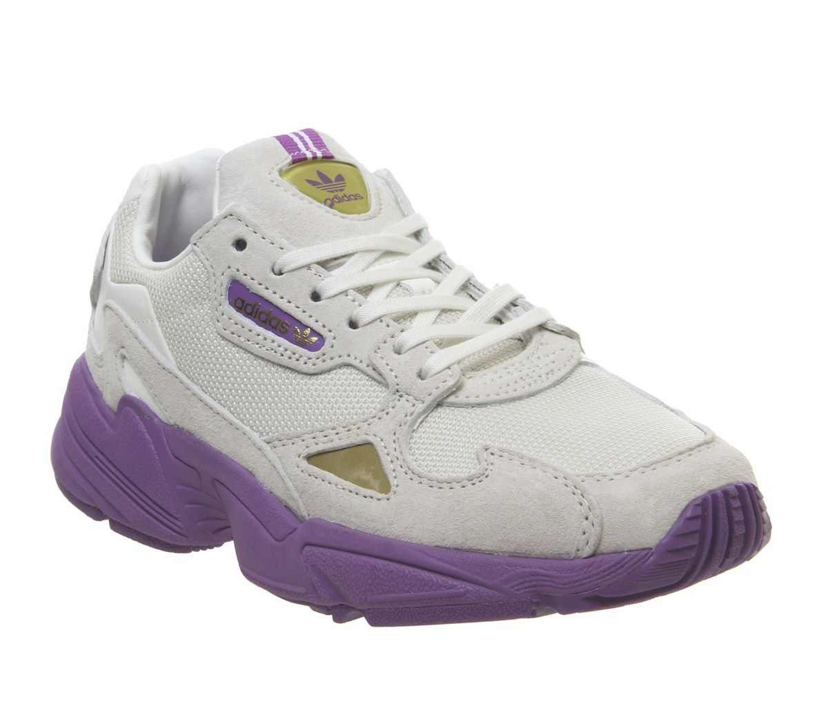new style 05855 43f72 adidas Falcon Trainers White Purple Gold Metallic Elizabeth Tfl ...