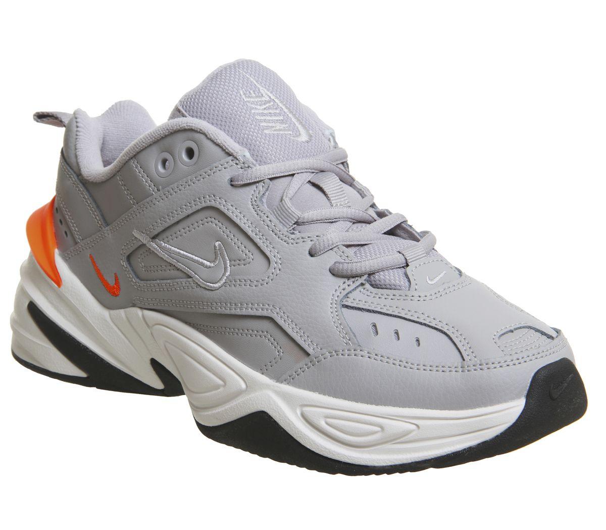 best website 15a3d 827fc Nike M2k Tekno Trainers Atmosphere Grey Phantom Total Orange - Hers ...