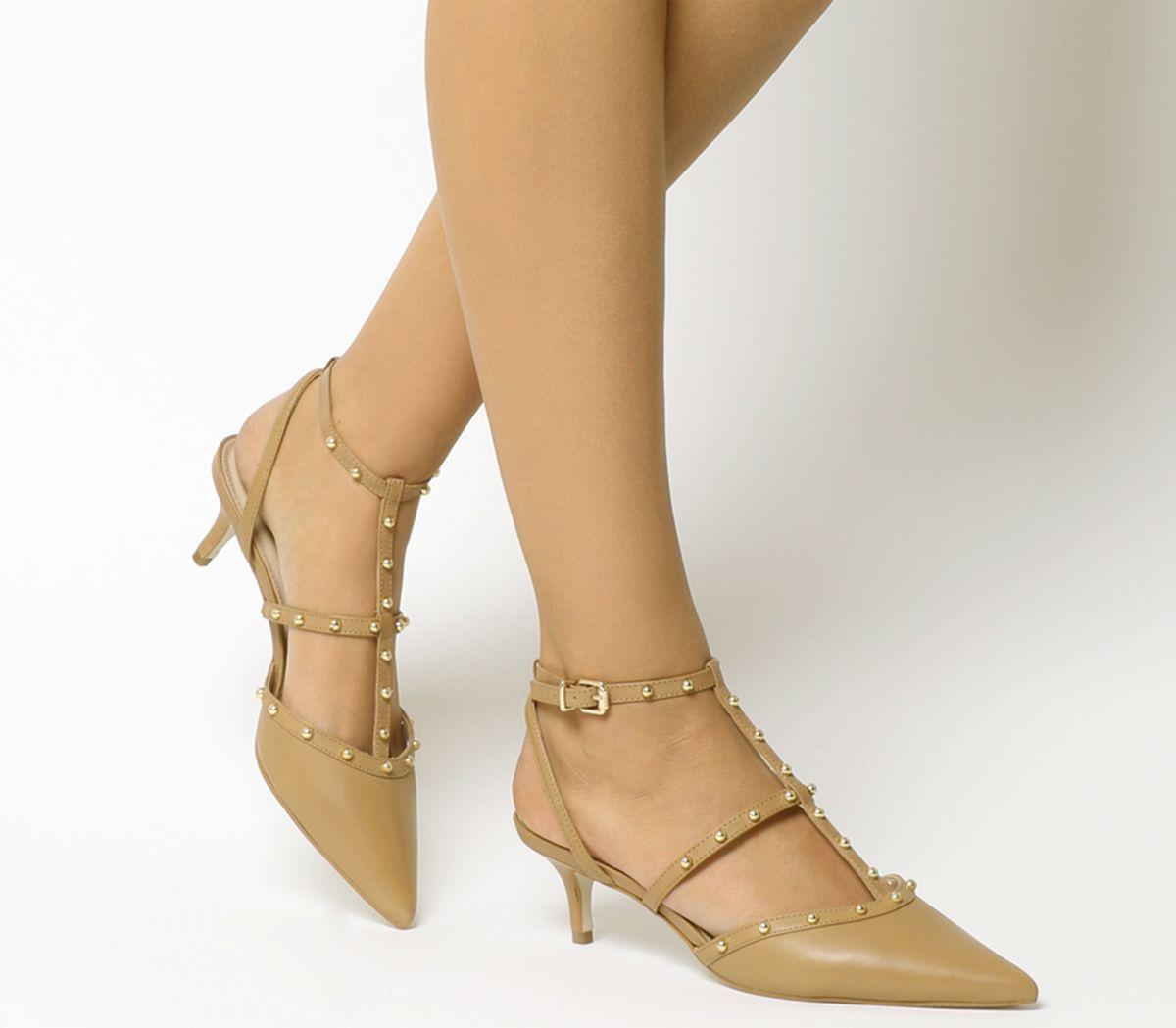 2b7b0805186 Office Manner Studded Point Kitten Heels Nude Leather - Mid Heels
