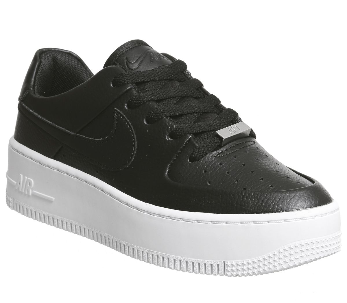 8af7592bff Nike Air Force 1 Sage Trainers Black Black White - Hers trainers