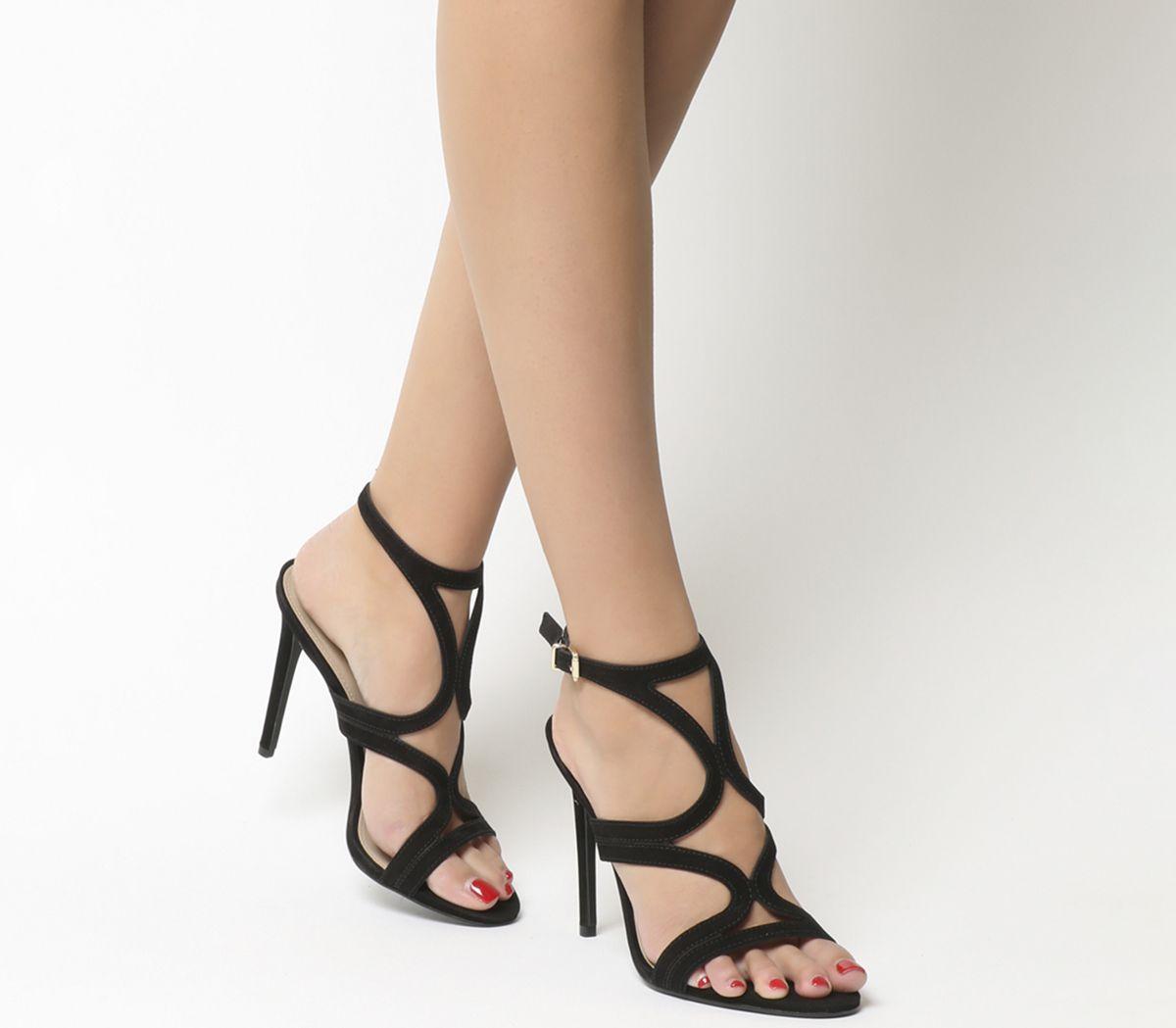 0faae71a825 Office Harrogate Strappy Single Sole Heels Black Nubuck - High Heels