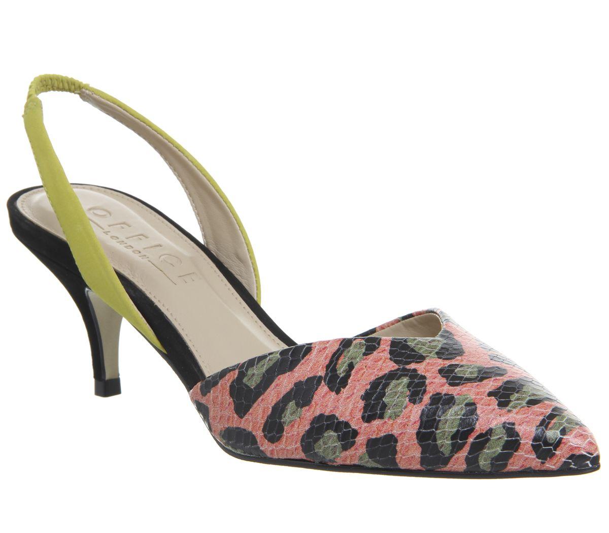 d64884c4de Office Melon Two Part Sling Courts Pink Leopard Mix - Mid Heels
