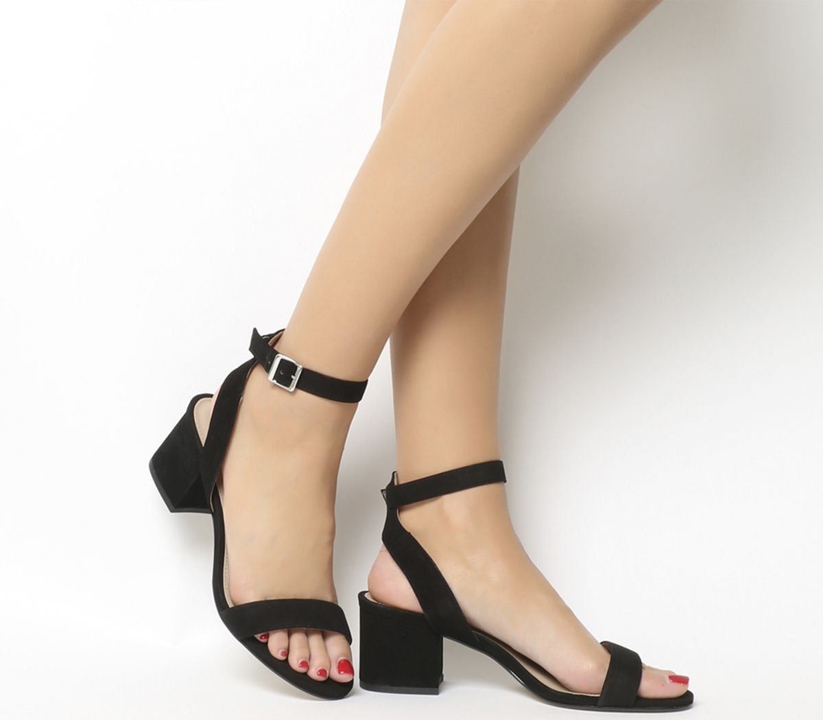 527f451f2b2 Office Make Up Sandals Black Nubuck - Mid Heels