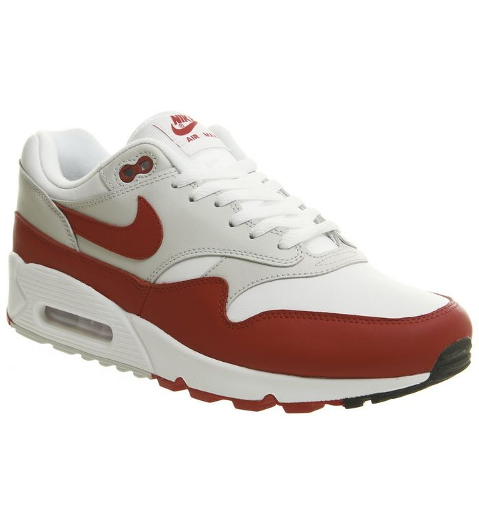 new arrival 8a8d0 17eba ... Nike, Air Max 90 1 Trainers, White University Red Grey Black Qs ...