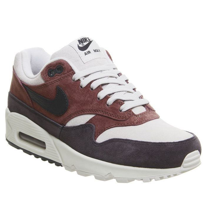 d7178b64a3 Nike Air Max 90/1 Trainers Red Sepia Oil Grey F - Hers trainers