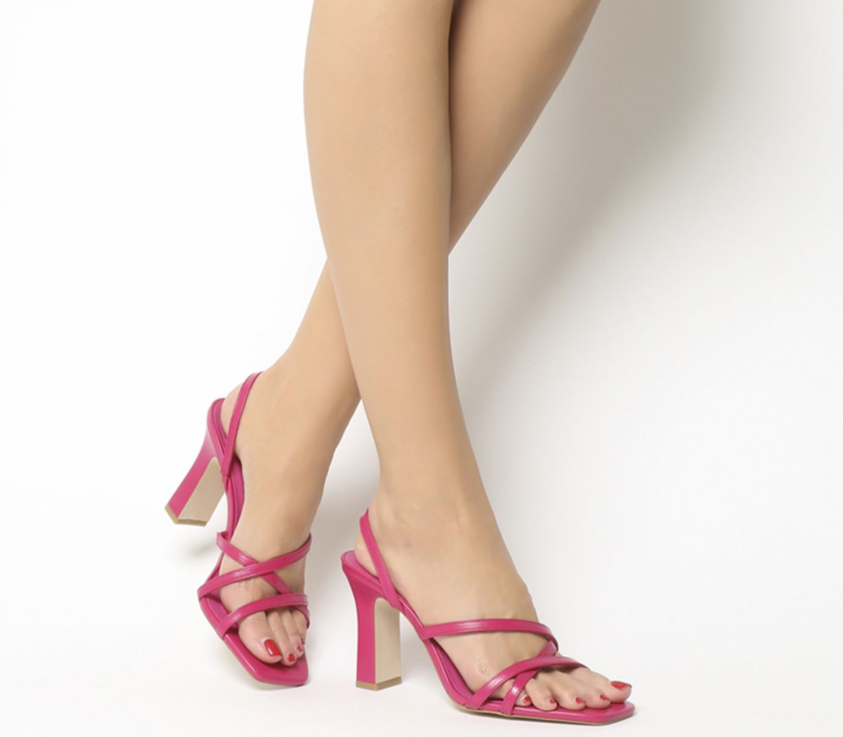 192cad5f81 Office Mariah Square Toe Strappy Sandals Pink Leather - Mid Heels