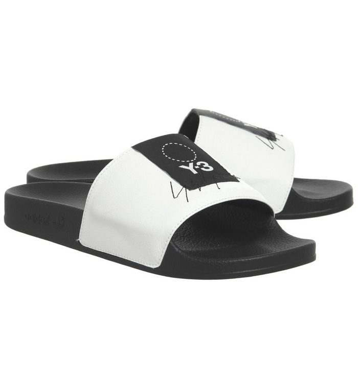 31273a1d59444 adidas Y3 Y-3 Adilette Slides Core White Black - Hers trainers