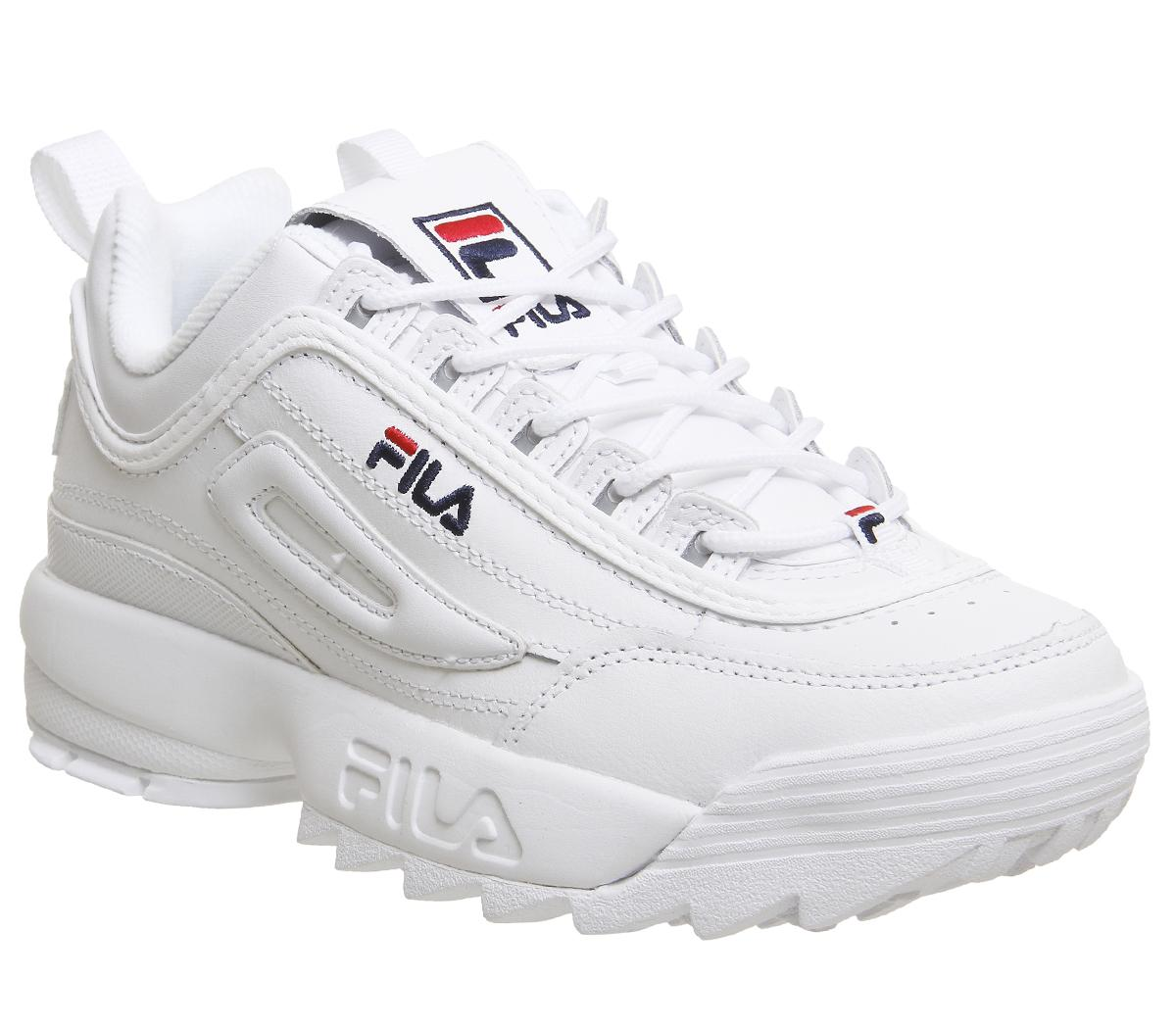 Fila Disruptor II Trainers White Leather - Sneaker damen