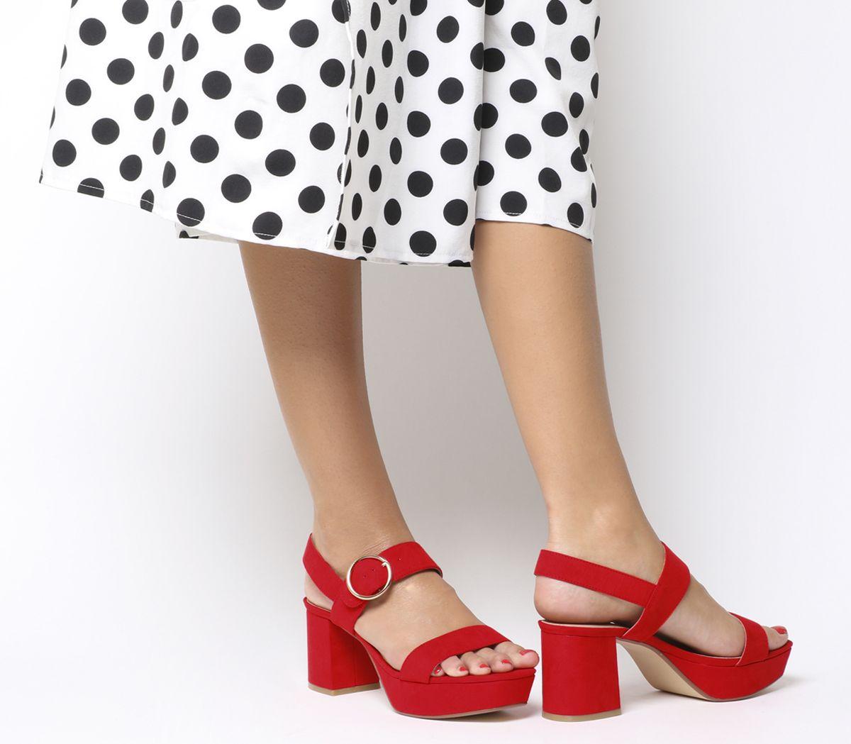 7d6cd13c4b Office Mouse Platform Sandals Red - Mid Heels