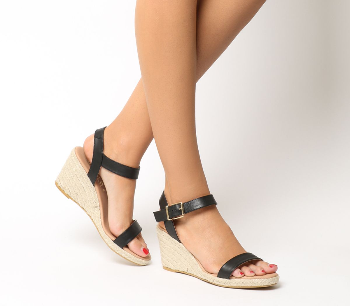 7a760b11d82f Office Mouse Espadrille Wedges Black Leather Natural Heel - Mid Heels