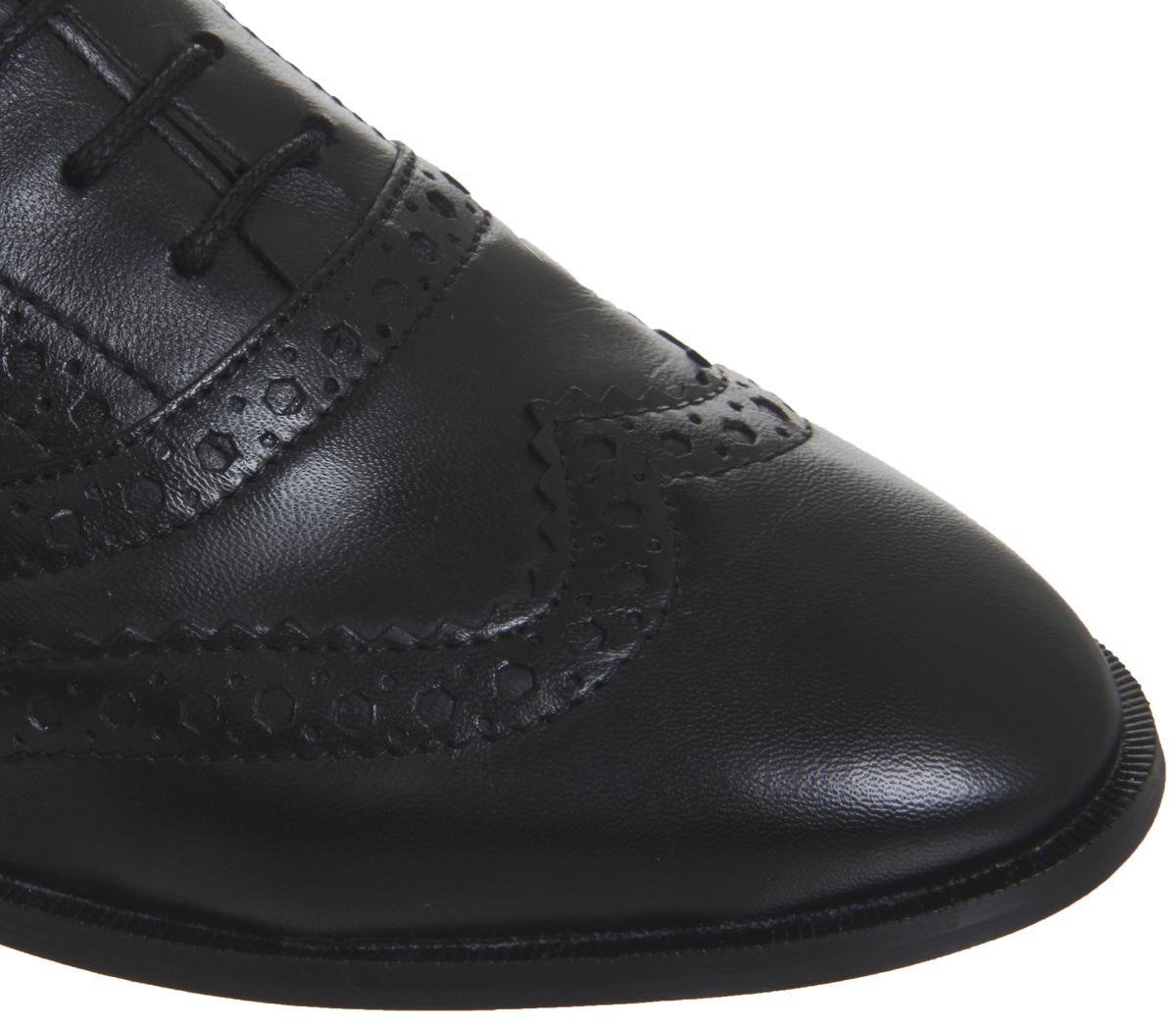 Office Factor Sling Back Peep Toe Flats Black Leather