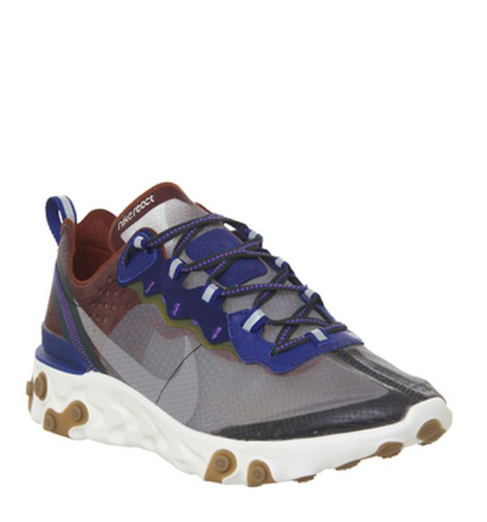 on sale bdca4 b0c2e Launching 02-05-2019 · Nike React Element 87 Trainers Dusty Peach  Atmosphere Grey Deep Royal Blue Lucid