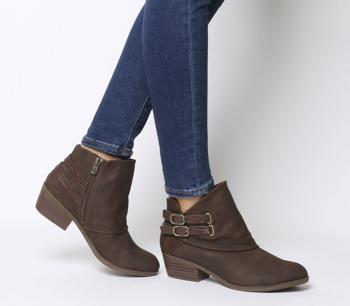 6166ddf256ebf Blowfish Sistee Double Buckle Ankle Boots Tobacco Rustic - Womens Boots