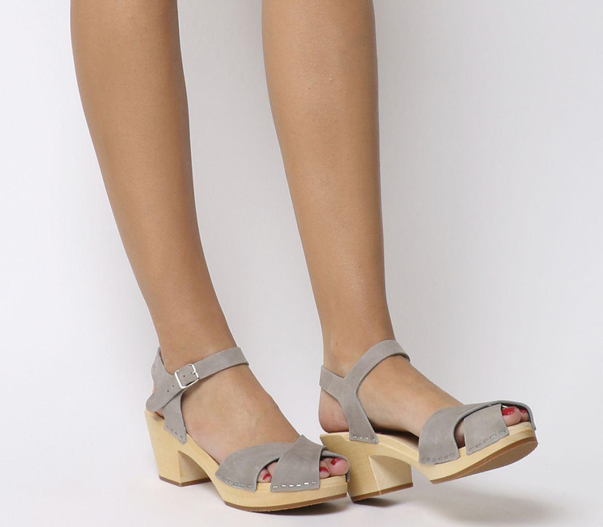 979601e474c Swedish Hasbeens Mirja Mid Heel Sandals Grey Nubuck - Mid Heels