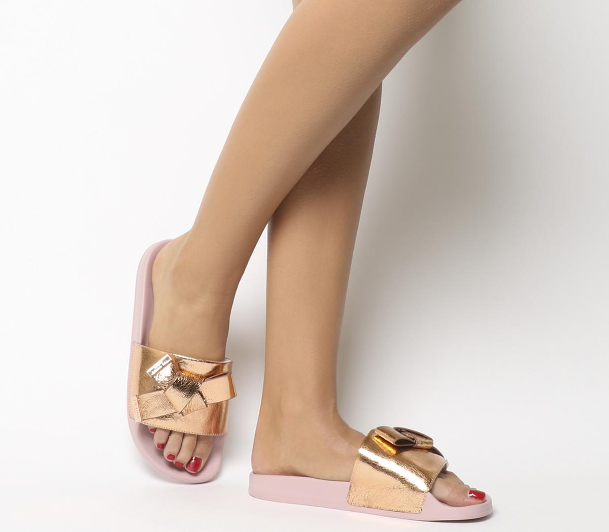 b3a79e311 Ted Baker Melvah Bow Slides Rose Gold Leather - Sandals