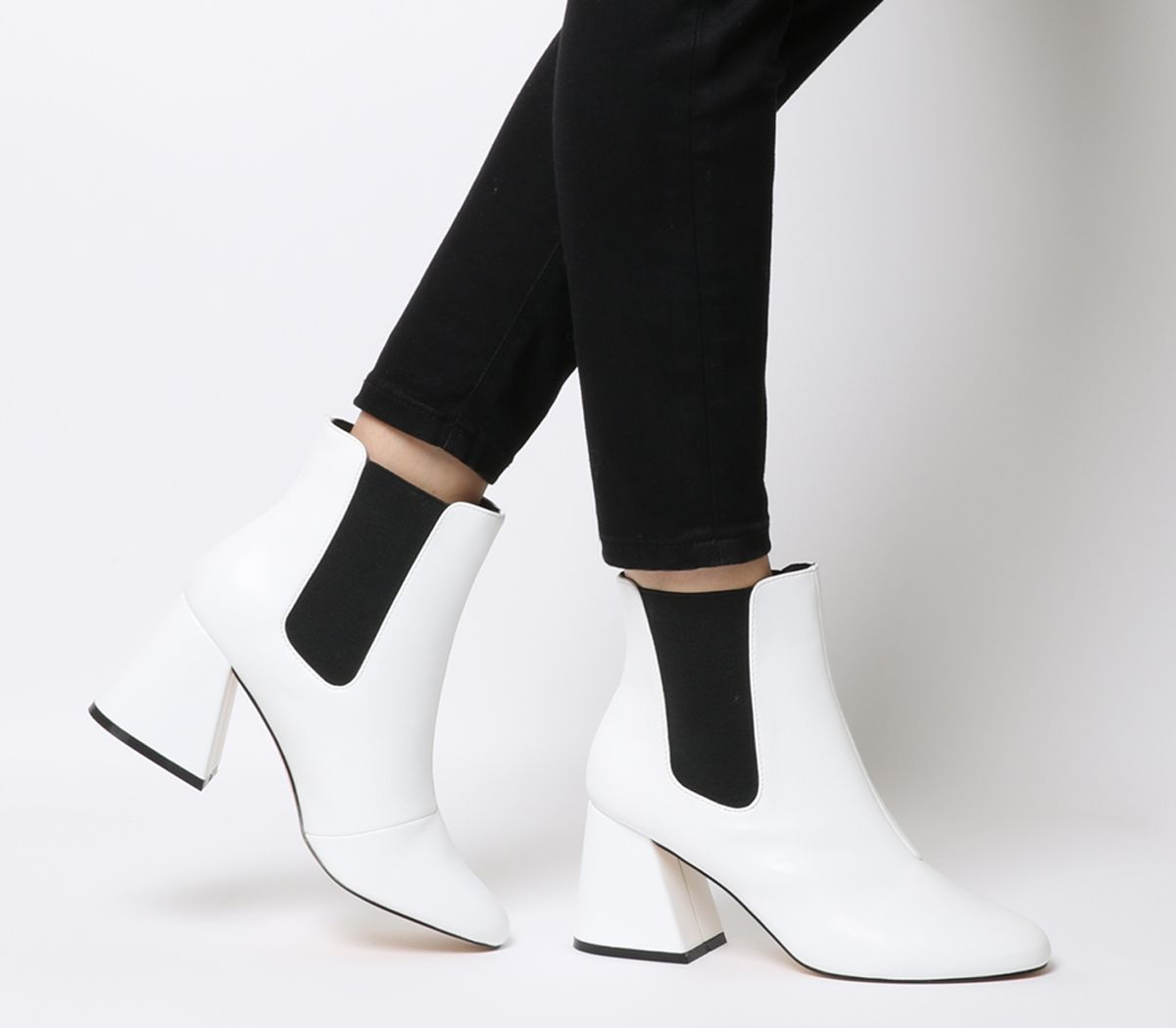 1bba09a336e Office Angular Block Heel Chelsea Boots White - Womens Chelsea Boots