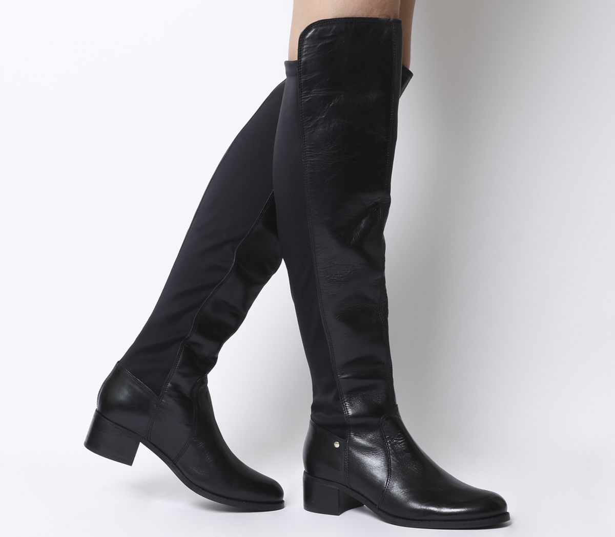 86ac186ad10 Office Kite Stretch Back Over The Knee Boots Black Leather - Knee Boots