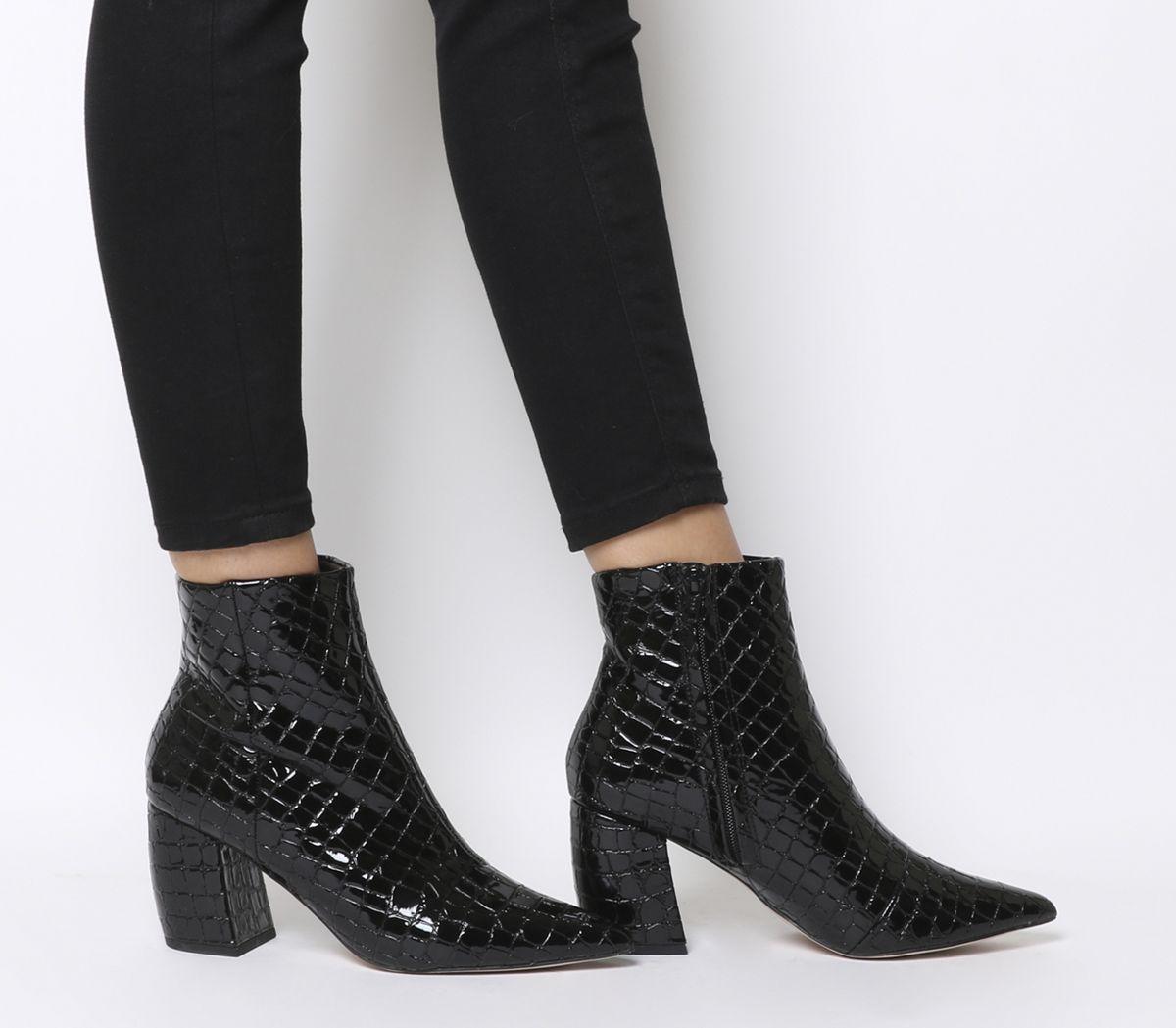c36b4438570f Office Aloud Point Block Heel Boots Black Croc Patent - Ankle Boots