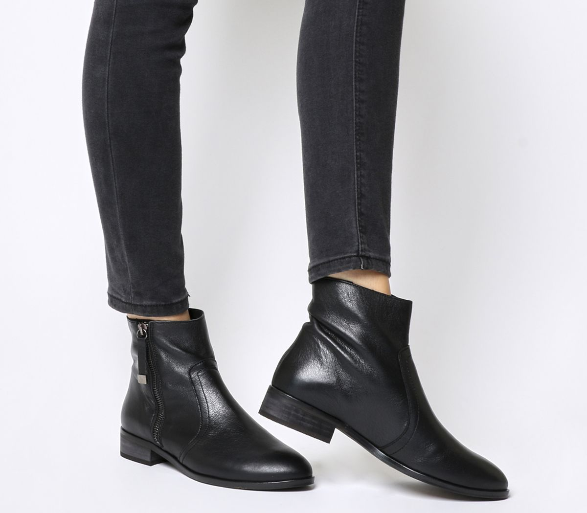 Office Actor Side Zip Flat Ankle Boots Black Leather