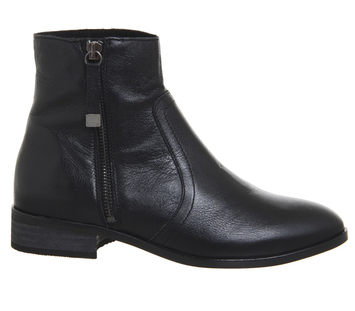 0eb47b3c12d Office Actor Side Zip Flat Ankle Boots Black Leather - Womens Boots