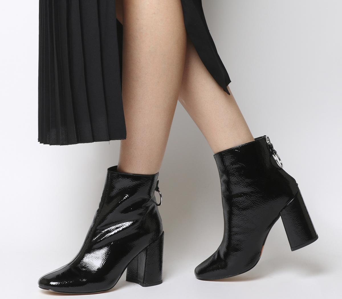 Argon Block Heel Back Zip Boots