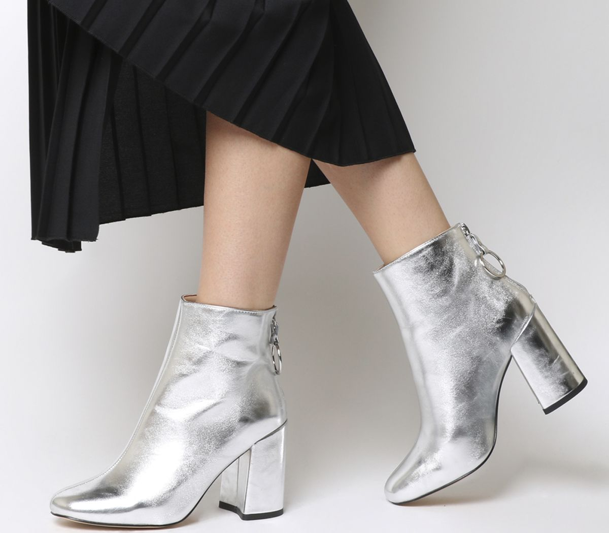 bb6dc1cbb00 Office Argon Block Heel Back Zip Boots Silver Metallic - Ankle Boots
