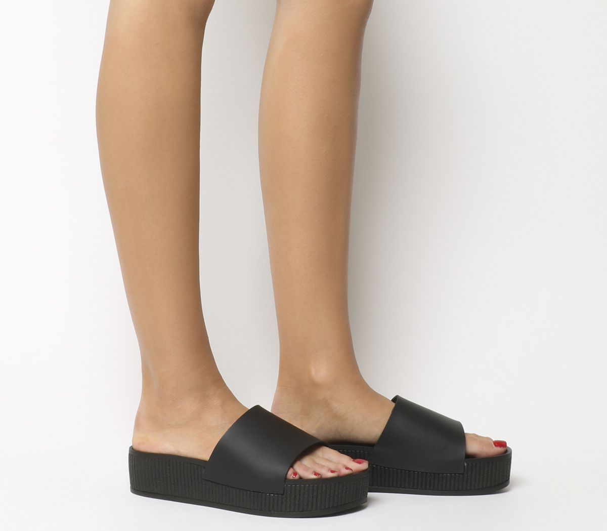 7a22137c6b Office Mushroom Flatform Sandals Black - Mid Heels