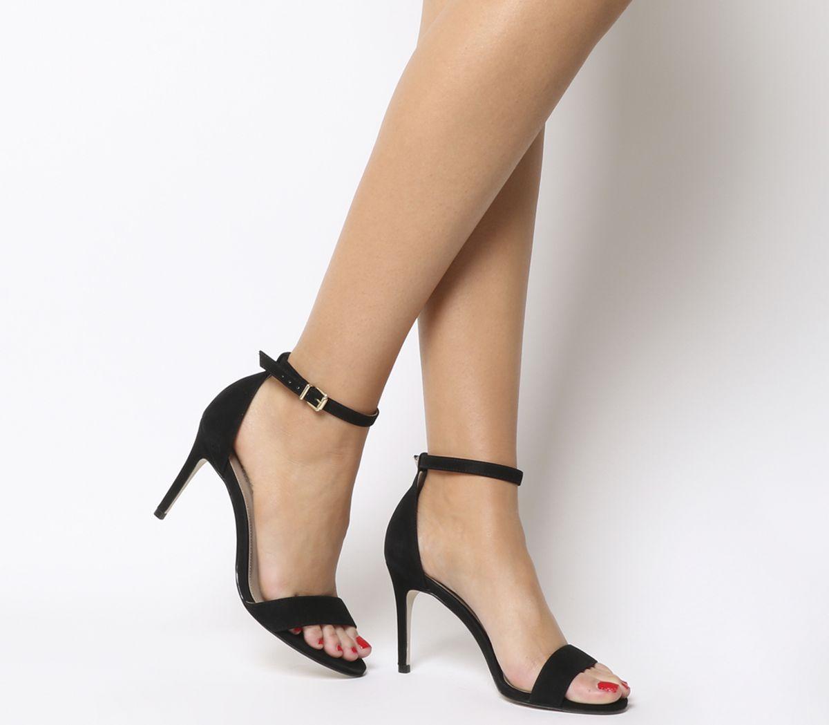 e583528e9bb Office Mimosa Two Part Mid Sandals Black Nubuck - Mid Heels