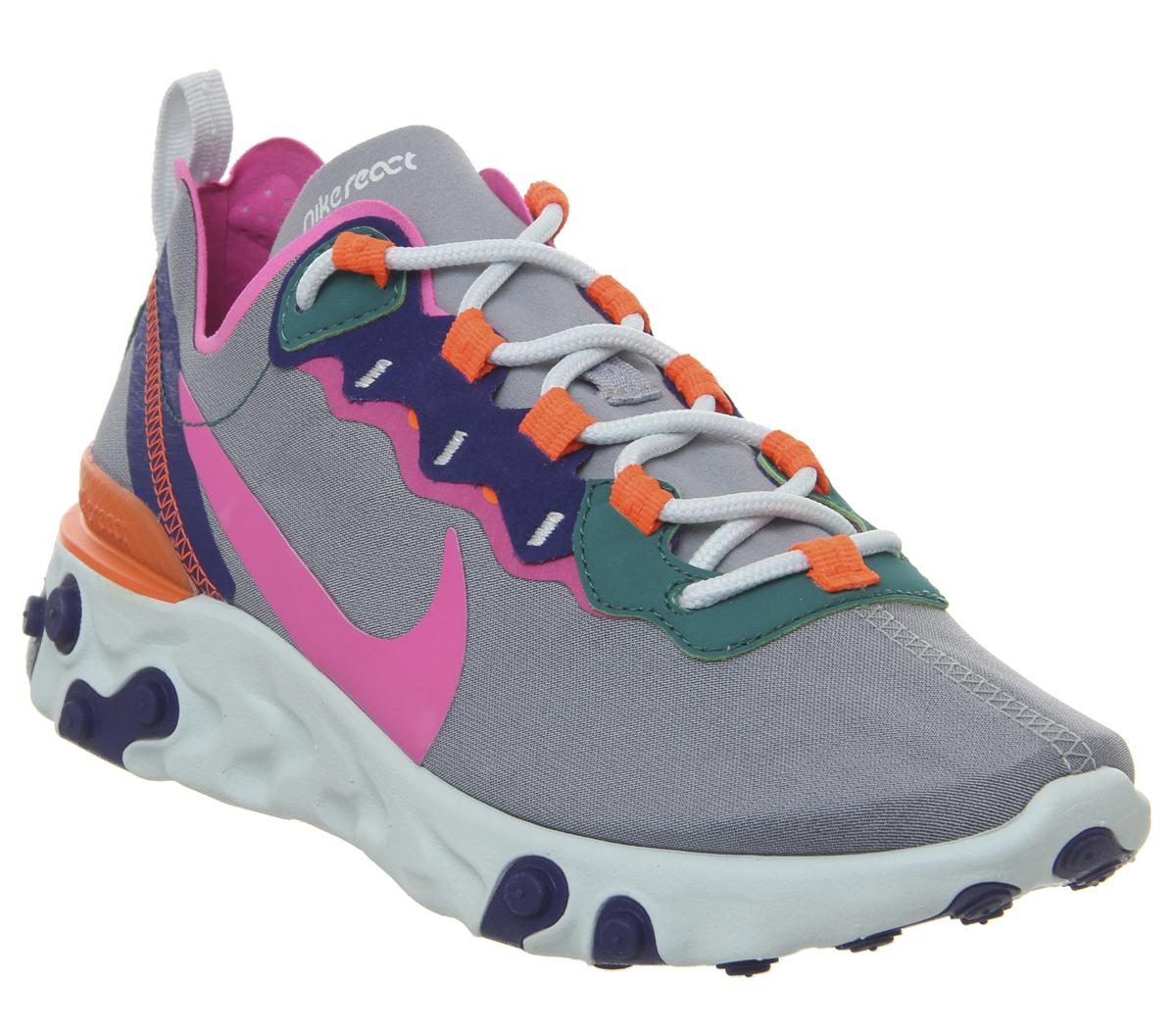 Clothing, Shoes & Accessories Athletic Shoes Authentic Nike React Element 55 Wolf Grey Laser Fuchsia Hyper Crimson Women Size