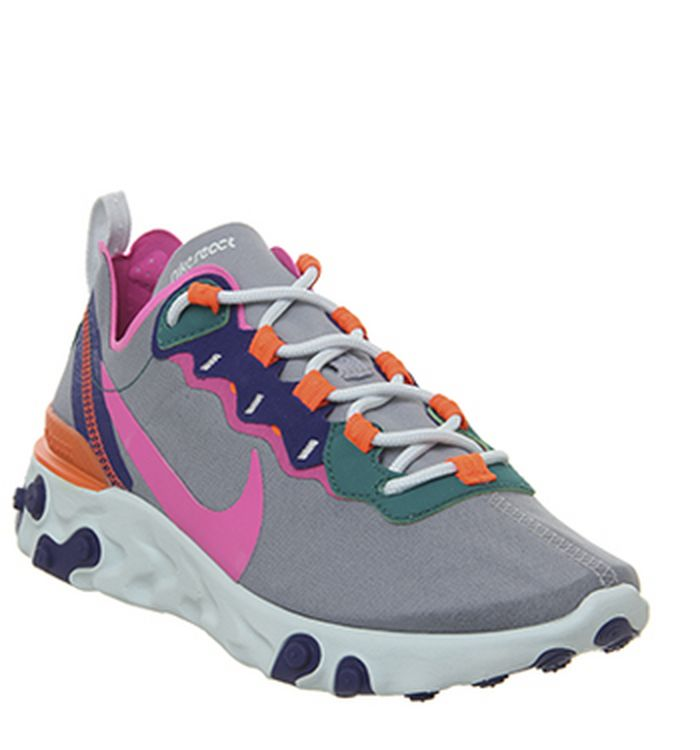 best cheap 39bb7 e238e Quickbuy. Launching 02-05-2019 · Nike React Element 55 Trainers Wolf Grey  Laser Fuchsia Hyper Crimson