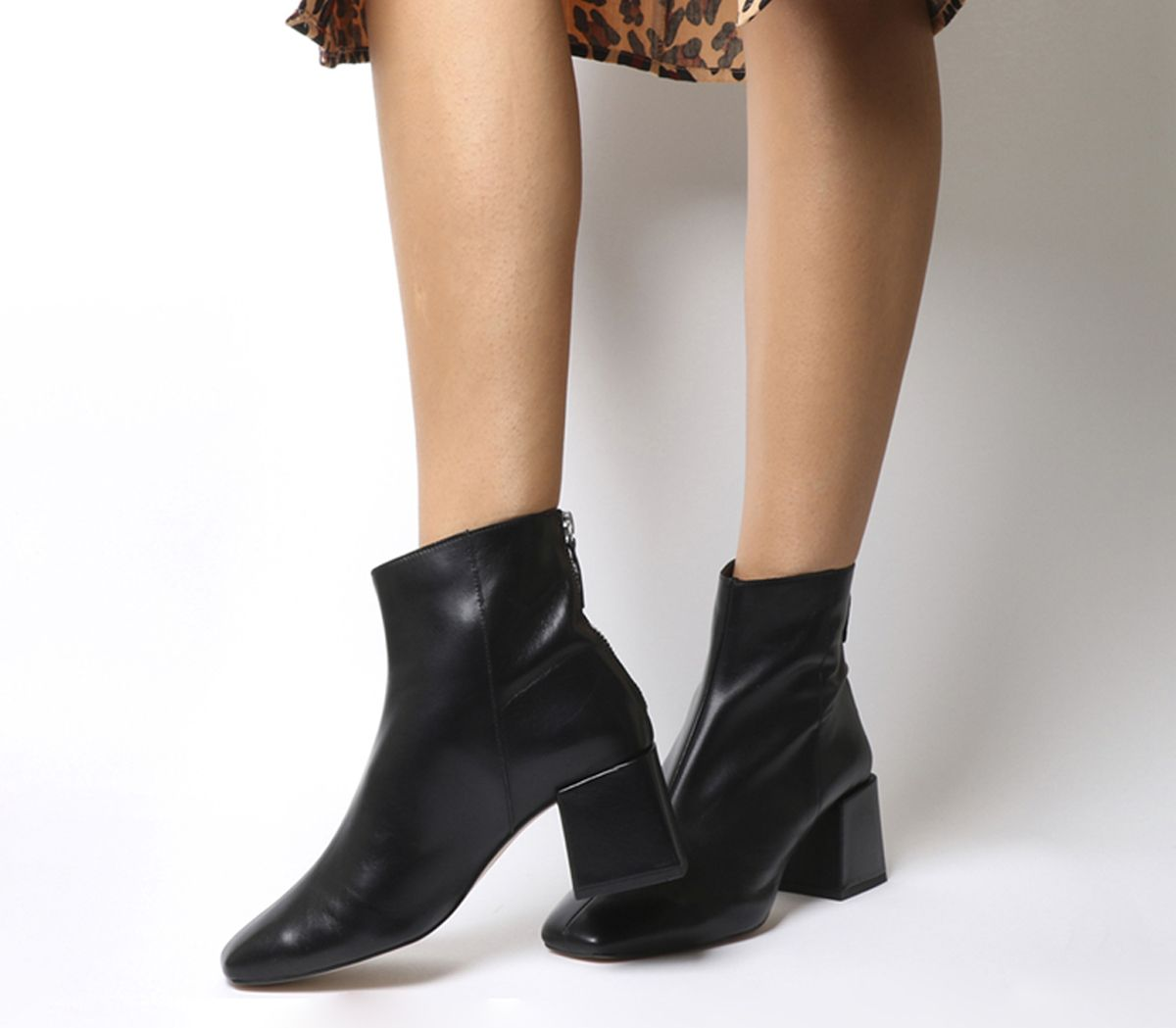 d357b840b56 Office Apricot Square Toe Block Heel Boots Black Leather - Ankle Boots