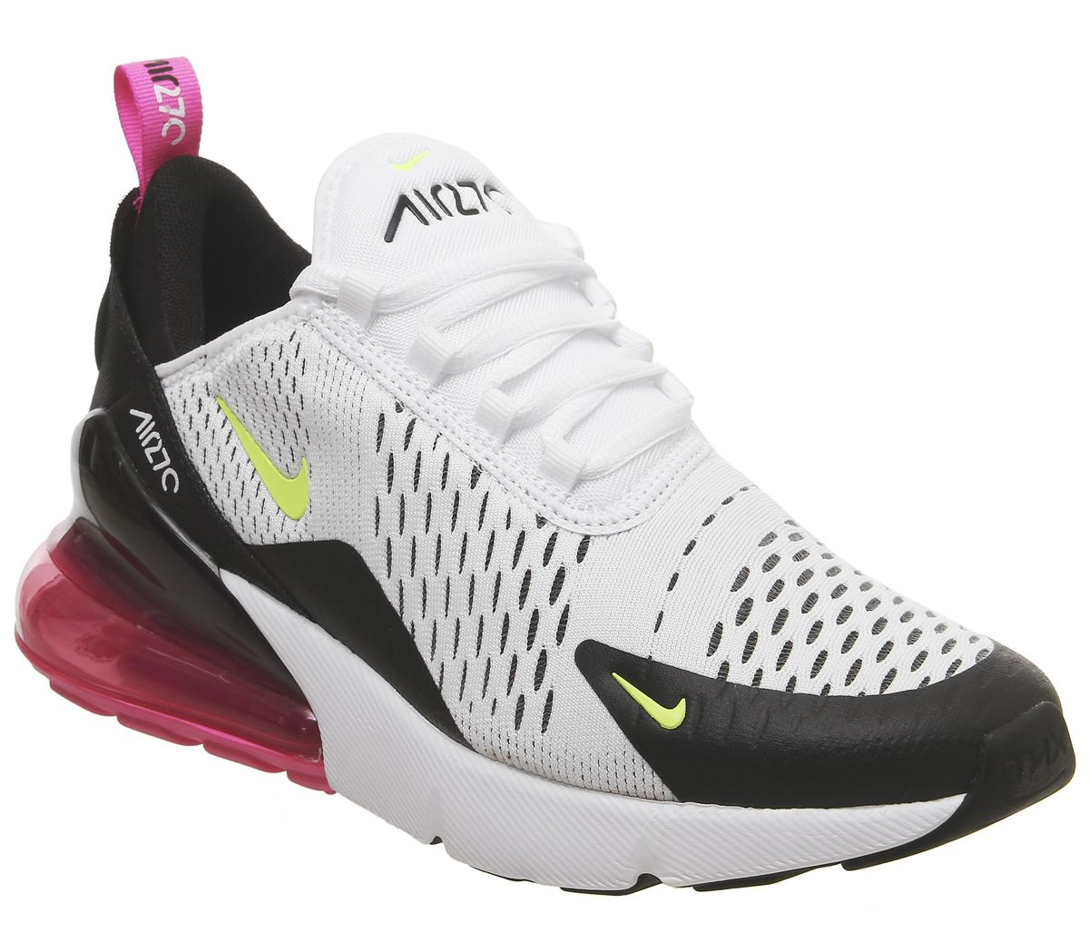 best service 104fe c7163 Nike Air Max 270 Gs Trainers White Volt Black Laser Fuchsia ...