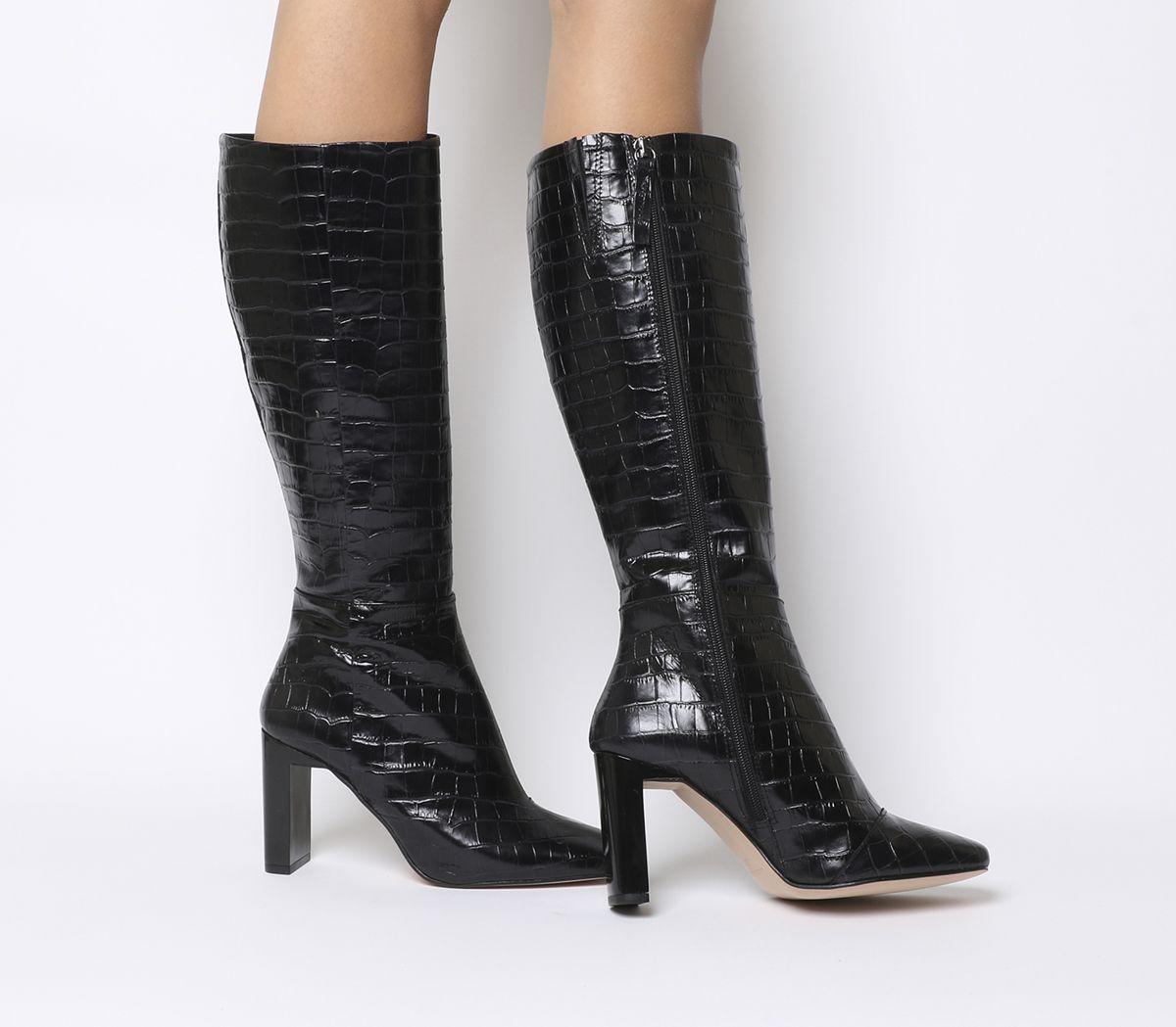 57c6cbdf480 Office Kobra Back Heel Knee Boots Black Croc Leather - Knee Boots