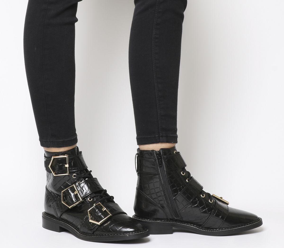 dca547d1ad Office Armory Buckle Lace Up Boots Black Croc Leather Gold Hardware ...