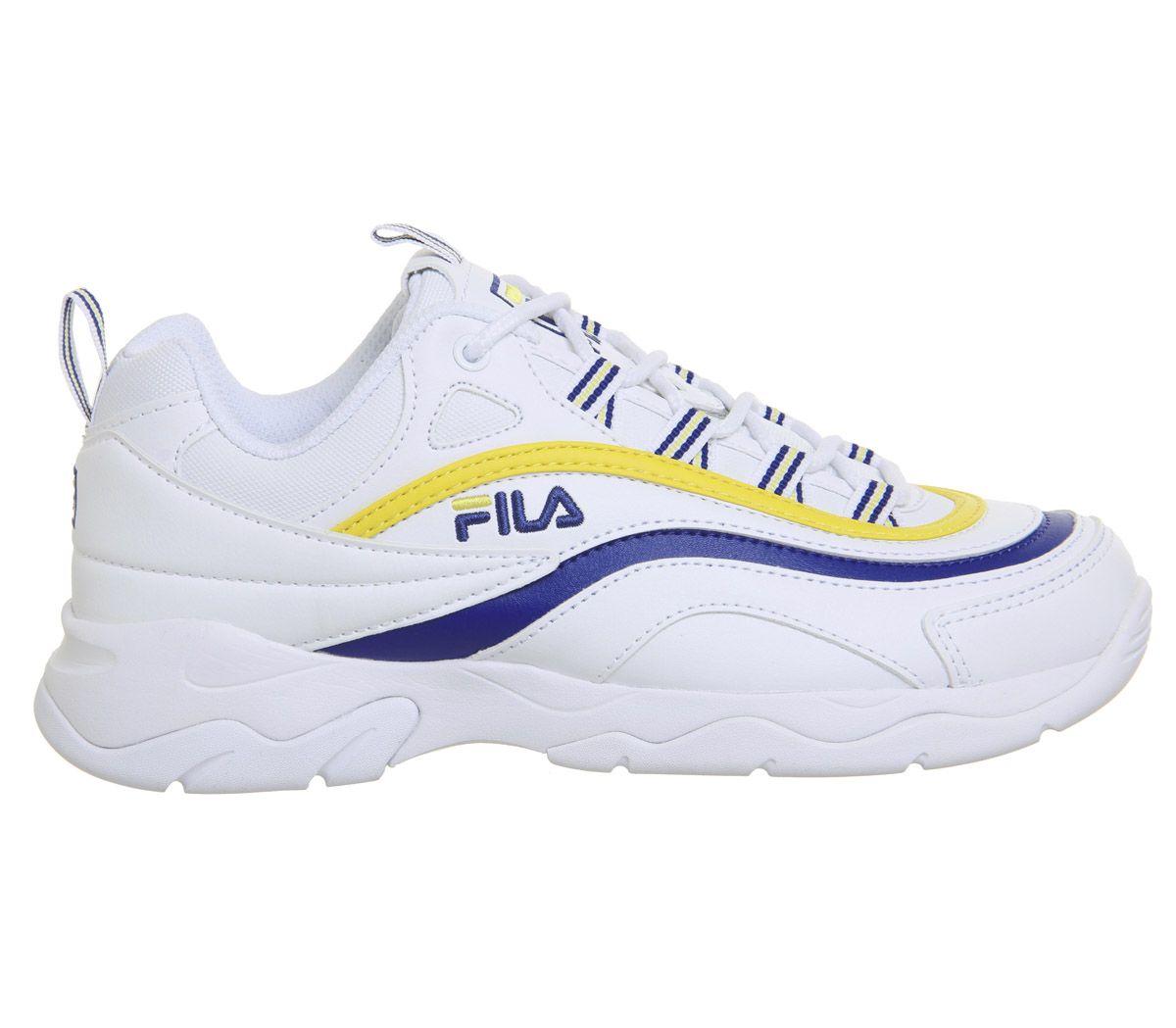 843c9a0f7 Fila Fila Ray Trainers White Mazarine Blue Lemon - Hers trainers