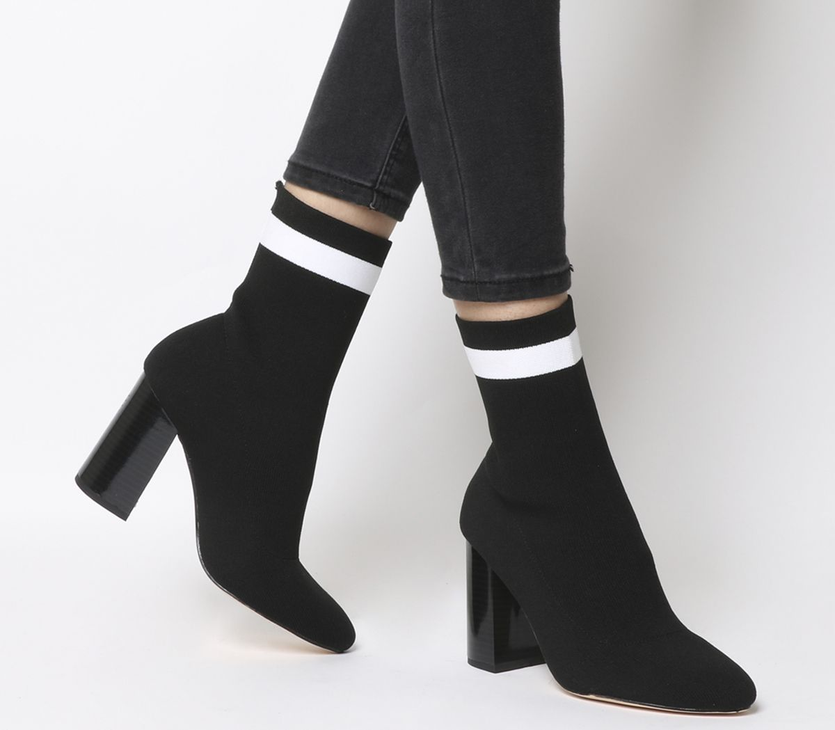 af5a9d182 Office Alexis Sock Boots Black With White Stripe - Ankle Boots