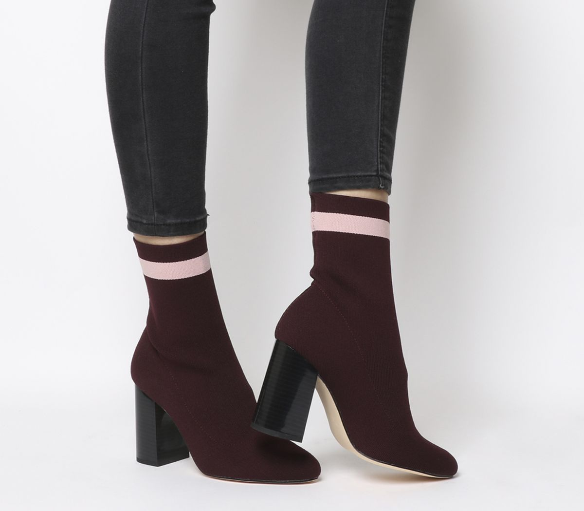 5aafdcc1c Office Alexis Sock Boots Burgundy With Pink Stripe - Ankle Boots