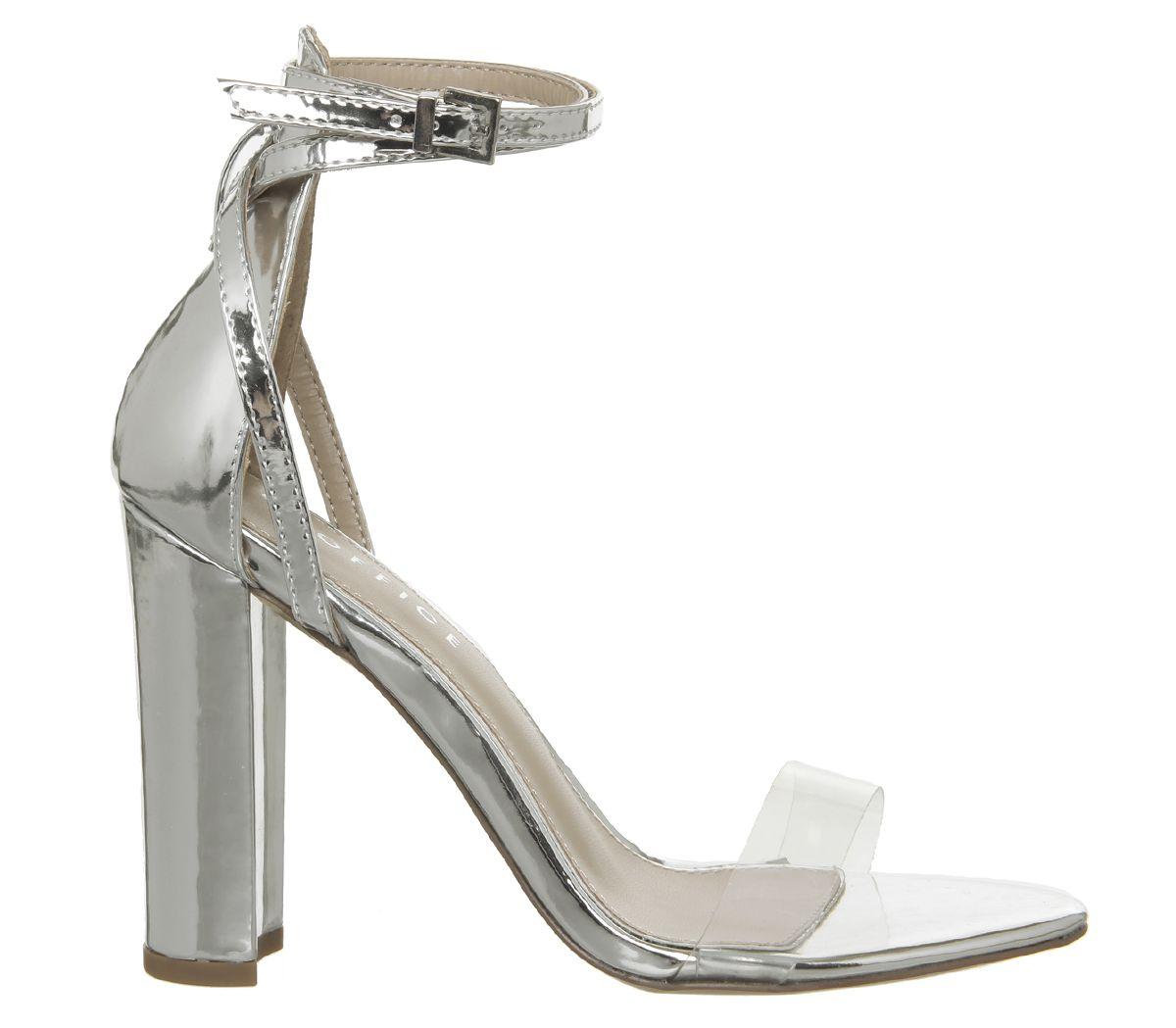 36eaee17fc2 Office Haylee Ankle Strap Block Heels Silver Mirror Clear Strap ...