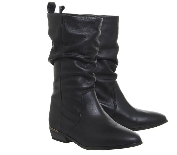 Office Kimbo Calf Boots Black Leather With Heel Clip - Knee High Boots QA219c7
